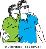 father and son with sunglasses... | Shutterstock .eps vector #658589164