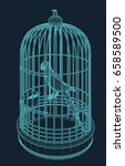 bird in a bird cage in wire... | Shutterstock .eps vector #658589500