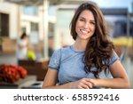 big bright white smile headshot ... | Shutterstock . vector #658592416