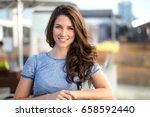 beautiful woman with perfect... | Shutterstock . vector #658592440