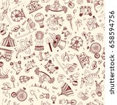 seamless pattern doodle circus... | Shutterstock .eps vector #658594756