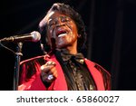 VIGEVANO, ITALY - JUL 21: James Brown during the concert at the castle of Vigevano on July 21, 2006  in Milan, Italy - stock photo