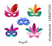 set of masquerade colorful... | Shutterstock .eps vector #658607224