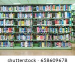 books in the library  blurred  | Shutterstock . vector #658609678