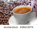 freshly made tasty espresso cup ... | Shutterstock . vector #658613074