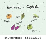 handmade   vegetables   pumpkin ... | Shutterstock .eps vector #658613179
