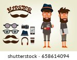 happy hipster style character... | Shutterstock .eps vector #658614094
