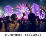 people enjoying live music... | Shutterstock . vector #658615636