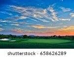 magnificent sunset on a golf... | Shutterstock . vector #658626289