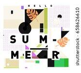 trendy vector holiday summer... | Shutterstock .eps vector #658626610