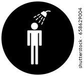 shower sign black. vector.   Shutterstock .eps vector #658629004