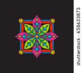 embroidery with tibet mandala... | Shutterstock .eps vector #658633873