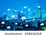 internet of things in night... | Shutterstock . vector #658636318