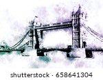 tower bridge in london  water...   Shutterstock . vector #658641304