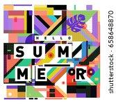 trendy vector holiday summer... | Shutterstock .eps vector #658648870