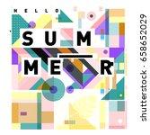 trendy vector holiday summer...   Shutterstock .eps vector #658652029