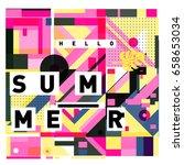 trendy vector holiday summer... | Shutterstock .eps vector #658653034