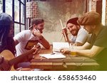 woman play guitar write song... | Shutterstock . vector #658653460