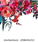 watercolor flowers red navy... | Shutterstock . vector #658656214