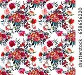 watercolor flowers red navy... | Shutterstock . vector #658656220