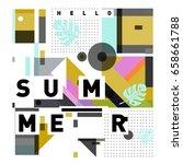 trendy vector holiday summer... | Shutterstock .eps vector #658661788