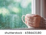woman hand holding the cup of... | Shutterstock . vector #658663180