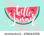 vector print with watermelon.... | Shutterstock .eps vector #658664308