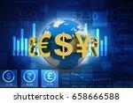 3d rendering global currencies | Shutterstock . vector #658666588