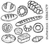 Set Of Hand Drawn Bread...