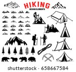 set of hiking  outdoor ... | Shutterstock .eps vector #658667584