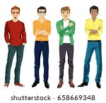 handsome guy in casual style.... | Shutterstock .eps vector #658669348