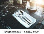table setting for dinner in...   Shutterstock . vector #658675924