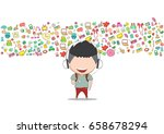 teenage boy wearing hat playing ... | Shutterstock .eps vector #658678294