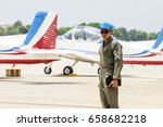 Small photo of Air cadet Pilot was looking something after he flied training aircraft in private pilot training.