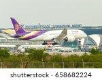 Small photo of ?Bangkok Thailand 20 jun 2017 : Thai airway HS-TQE Boeing 787-8 was landing to Suwannabhum international airport pass terminal and apron.