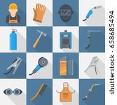 welding icon set. supplies and... | Shutterstock .eps vector #658685494