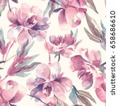Stock photo peonies seamless pattern watercolor background 658686610