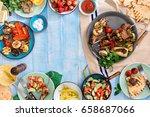 frame of shish kebab  grilled... | Shutterstock . vector #658687066