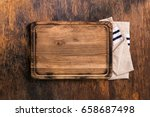 old cutting board with cloth... | Shutterstock . vector #658687498