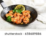 prawns shrimps with garlic ... | Shutterstock . vector #658689886