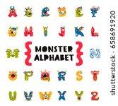poster of monster alphabet.... | Shutterstock .eps vector #658691920