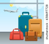 baggage  suitcases and bags in... | Shutterstock .eps vector #658697728