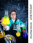 smart boy scientist making... | Shutterstock . vector #658705369