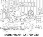 kids coloring on the theme of... | Shutterstock . vector #658705930
