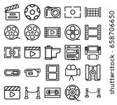 cinema icons set. set of 25... | Shutterstock .eps vector #658706650