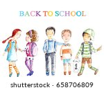 kid with backpacks back to... | Shutterstock . vector #658706809