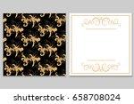 elegant golden black invitation ...   Shutterstock .eps vector #658708024