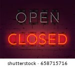 "realistic neon glowing ""closed"" ... 