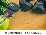 boxing gloves  a towel and... | Shutterstock . vector #658718290