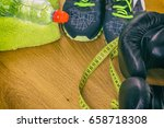 boxing gloves  a towel and... | Shutterstock . vector #658718308